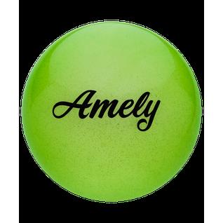 Мяч для художественной гимнастики Amely Agb-102, 15 см, зеленый, с блестками