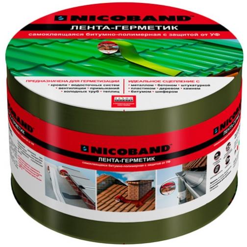 ТЕХНОНИКОЛЬ Никобенд гидроизоляционная лента 10см х 10м зеленый / NICOBAND гидроизоляционная лента 10см х 10м зеленая Технониколь 36984020