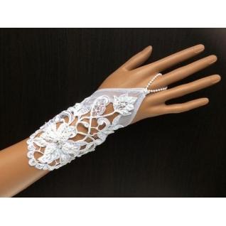 Перчатки свадебные №114, белый (18 см, бисер)