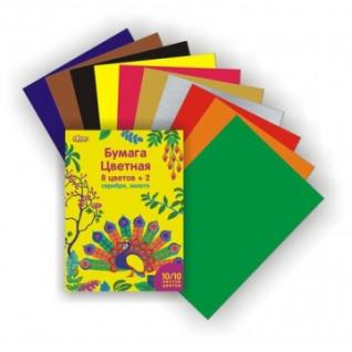 Бумага цветная №1School, 10л, 8цв+серебр/золото, А4, Живая природа, мелован