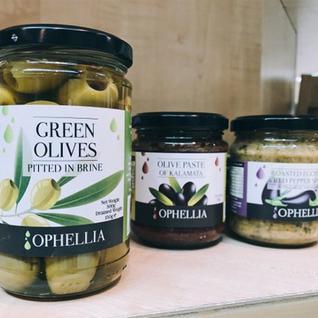 OPHELLIA Зеленые оливки, фаршированные перцем, OPHELLIA 212 мл. ст. банк.