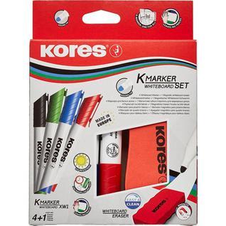 Набор маркеров для досок KORES с губкой 3мм 4шт/уп 20863