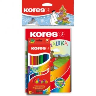 Карандаши цветные Kores DUO 24 цв+Занимашка Новогодний набор