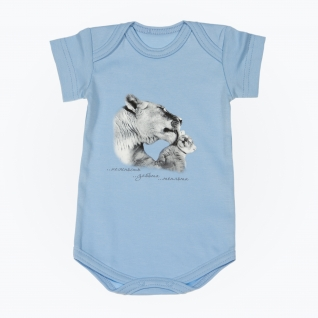 "Боди ""Мама и малыш"" с коротким рукавом - Тигры, голубое, р. 68 Leo"
