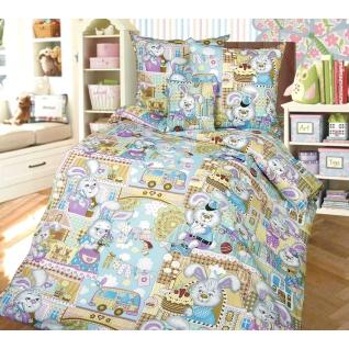 Комплект детского постельного белья 1,5-спальный Зайкин город, бязь