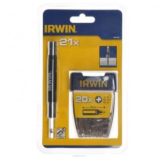 """Набор Irwin 20 насадок (РZ1-5, РZ2-10, РZ3-5 шт) + магнитный держатель 1/4"""" 120 мм"""