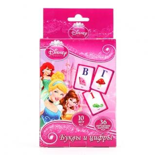 """Карточки Развивающие """"Умка"""" Дисней. Принцессы. Учим Алфавит И Цифры (36 Карточек)"""