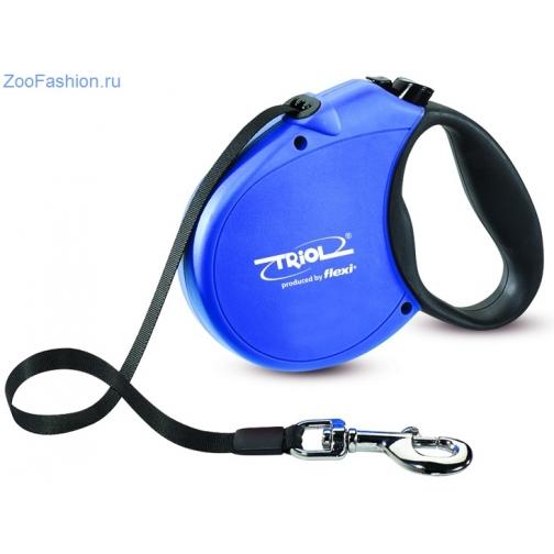 Поводок-рулетка Standard Soft Blue L 5м до 50кг, лента. Flexi 2 года гарантии. (5 метров) 36989321