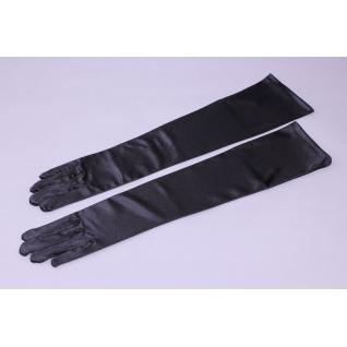 Перчатки вечерние №509, черный (45 см, лайкра с блеском, закрытые)