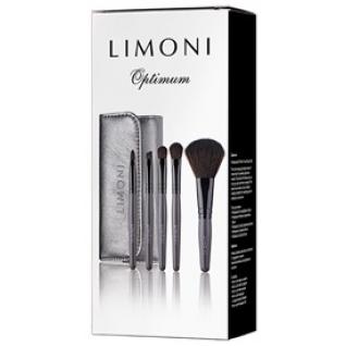LIMONI Подарочный набор кистей для макияжа OPTIMUM - 5 кистей + чехол серебряный