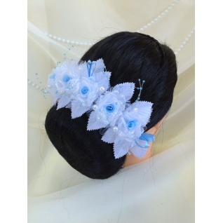 Венок свадебный №110, белый/голубой (5 роз, стеклярус, жемчуг)