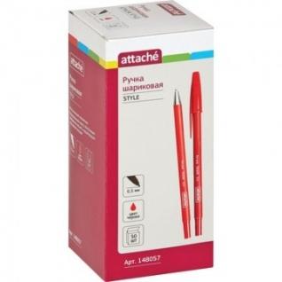 Ручка шариковая Attache Style 0,5мм прорезин.корп.красный ст.