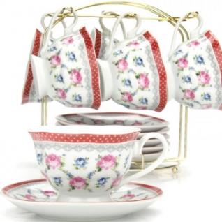 Сервиз чайный 6 чашек(180мл)+ 6 блюдец на подставке LR(х8) (25947)