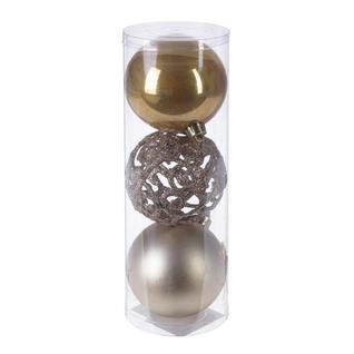 Украшение новогоднее Шар (набор из 3 шт) (шампань), D 8см 722941