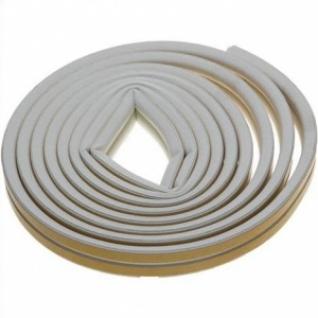 Уплотнитель резиновый белый, профиль D, самоклеящийся, 6м 40920-006