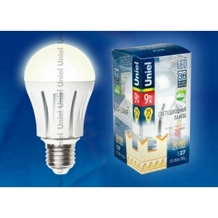 Uniel LED-A60-9W/WW/E27/FR ALM01WH пластик