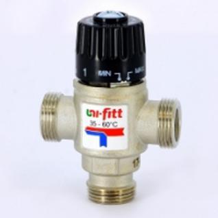 Клапан термосмесительный Uni-Fitt 3/4'' нар/нар/нар боковое смешение 35-60 град. (Италия)
