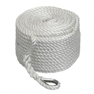 Трос якорный Sanlong 3-прядный 10мм нагрузка 1400кг белый, бухта 45м (STALW01)