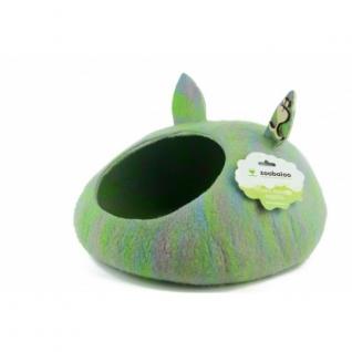 """Zoobaloo Домик- слипер """"Уютное гнездышко"""" с ушками (шерсть, форма круг, мультиколор салатовый)"""