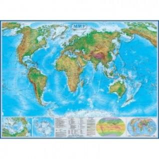 Настенная карта Мир физическая 1:22млн.,1,58х1,18м.