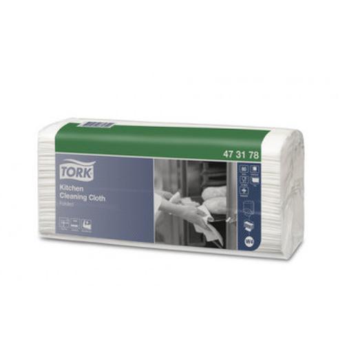 Материал протирочный нетканый Tork для кухни W4 80л/уп,белый 473178 37863189 3