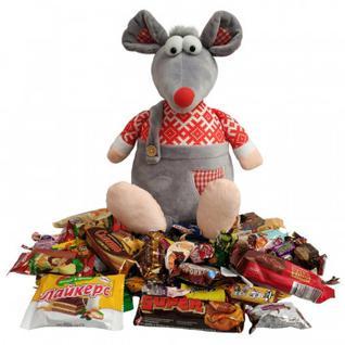 Новогодний сладкий подарок Мышонок Озорник игрушка 1000гр 46х19х18 см 9444 МосУпак