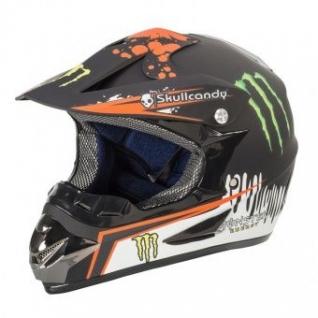 Мотошлем Monster черный с оранжевым рисунком