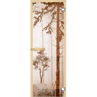 Дверь для сауны АКМА Арт-серия GlassJet ЛЕС V1 7х19 (коробка-осина/липа)