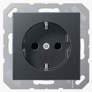 Розетка электрическая Jung A1520BFANM SCHUKO 16A 250V~ с заземлением матовый антрацит термопласт