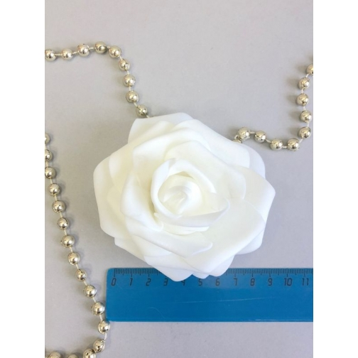 Роза из латекса 90 мм, 1шт, белая 36977827