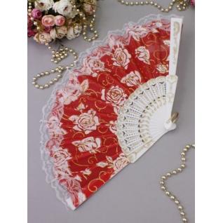 Веер №71 Розы, красный/пластик, ткань/