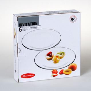 Тарелка десертная INVITATION прозрачная 20см 6шт/уп 10327B