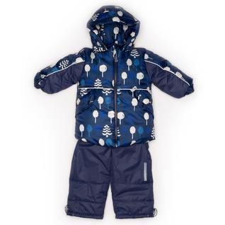 Комплект MalekBaby (Куртка + Полукомбинезон), Без опушки, №254/1 (Деревья+синий) арт.409ШМ