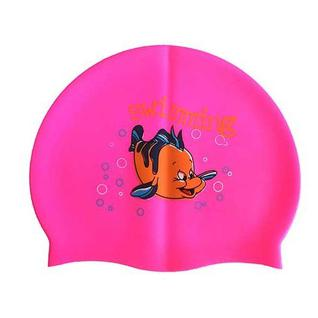 Шапочка для плавания силиконовая с рисунком Dobest Rh-с10 (розовая)