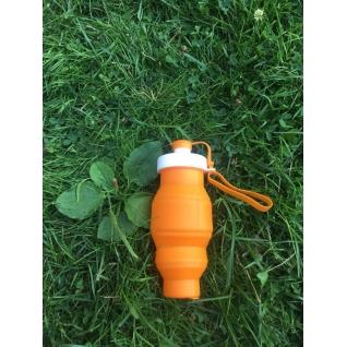 Бутылка для воды силиконовая складная 450 мл оранжевая Hobbyxit