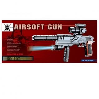 Пистолет (П) С Лазер. И Оптич. Прицелом, С Фонарем И Глушителем, С Пульками Sp3-A1