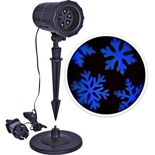 Новогодний проектор Голубые снежинки с белым снегом
