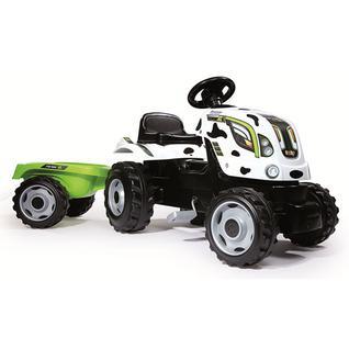 Детские веломобили Smoby Smoby 710113 Трактор педальный XL с прицепом, пятнистый