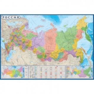 Настенная карта РФ политико-административная 1:5,5млн., 1,57х1,05м.