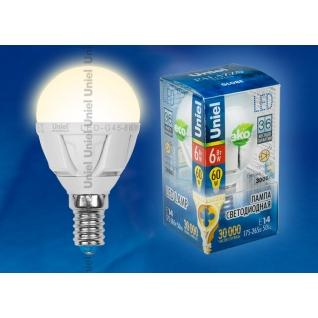 Uniel LED-G45-6W/WW/E14/FR ALP01WH пластик