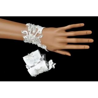 Перчатки свадебные №139, белый (короткие)