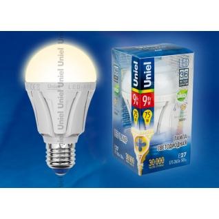 Uniel LED-A60-9W/WW/E27/FR ALP01WH пластик