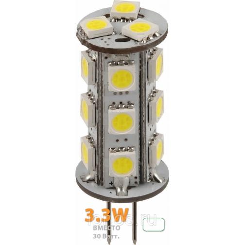 Светодиодная лампочка G4-18X5050ES-240Lm, 220V 3,3W-6000K  лампа светодиодная. 637