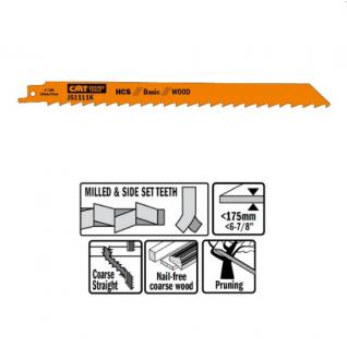Пилки сабельные СМТ 5 штук для дерева (HCS) 225x8,5x3TPI JS1111K-5