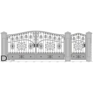 Кованые ворота калитка В-022 (2м x 3.5м)