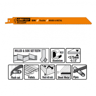 Пилки сабельные СМТ 5 штук для дерева и металла(BIM) 225x2,5x10TPI JS1122HF-5