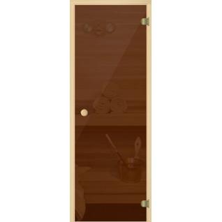 Дверь Бронза/Серое/Прозрачное бесцветное 7х19, коробка - осина, ручка круглая, стекло 6мм