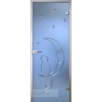 Стеклянная межкомнатная дверь Fantasy Ночь с гравировкой (полотно)