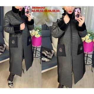 Женское весеннее стёганое пальто большого размера р.48-60