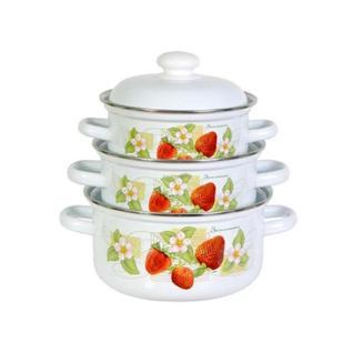 Земляника С-124АП2/4З, Набор эмалированной посуды, 3 кастрюли с крышками (1,5 л, 2,0 л, 3,0 л) Лысьвенские эмали